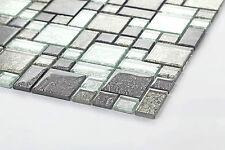 Schwarz und silber Glasmosaikfliesen, glänzend  Klein Muster (MT0044)
