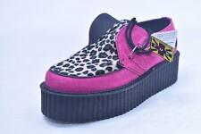 """TUK MIE UK MADE 2"""" TALL 2 EYE LEOPARD PINK STAR ROCKABILLY CREEPERS UNISEX 4 6"""