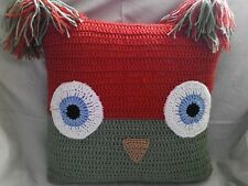 "Hand crochet Owl cushion cover 15"" x 15"" approx."
