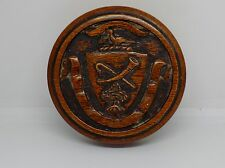 Good Victorian Round Walnut Snuff/Tobacco Box Armorial Hunting Coat Of Arms