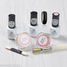 6pcs/set Nail Art Black Gel Polish Mirror Chrome Glitter Dust Powder W/Brush Kit