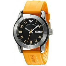 Emporio Armani AR5872 Men's Stainless Steel Orange Silicon Strap Watch