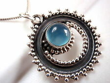Blue Chalcedony Tribal Style Pendant 925 Sterling Silver Corona Sun Jewelry