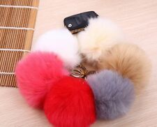 White Fluffy Fuzzy Ball Pom-Pom Faux Fox Furr Large Keychain Gift Key Chain