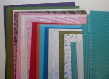 """Stampin Up! 60 12""""x12"""" Cardstock Paper Assorted Textured Brights & Smooth Prints"""