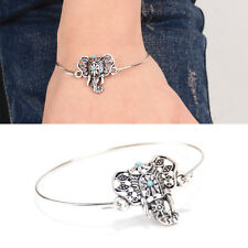 Charm Women Tibetan Silver Lucky Elephant Bangle Totem Bracelet Jewelry