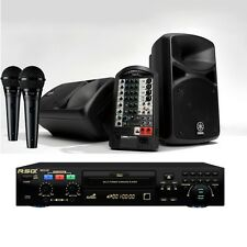 Portable Karaoke System Yamaha Sound STAGE PASS 400 RSQ Machine FREE MUSIC MICS