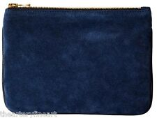 BALMAIN Paris x H&M Women's Small Suede & Leather Clutch / Cosmetic Bag Blue NWT