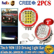 "2pcs 7""inch Round 90W Driving Lights Combo Spot Flood Fog CREE LEDs Offroad Bars"