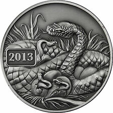 "Tokelau 5 Dollars 2013 ""Jahr der Schlange - Year of the Snake"" Antique Finish"