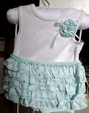 KOALA BABY BOUTIQUE BABY GIRL 2 PC. LT.BLUE/WHITE RUFFLED SETW/PANTIES  SZ 12 M