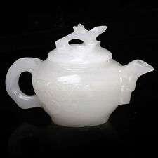 100% Natural White Hetian Jade Hand Carved Plum Pattern Teapot W Branch Lid
