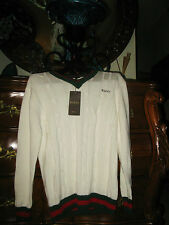 GUCCI Mens SWEATER Lg/L Ivory/White Green+Red~100% AUTHENTIC~Cable~LOGO V-Neck