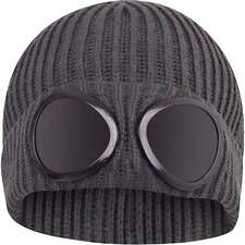 Mens Goggle Beanie Knitted Woolly Winter Chunky Beany Hat