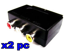 From OZ Quality 2PC SCART Male To 3 RCA Female AV TV Monitor & Audio Adaptor +FP