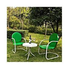 3 PC Green Vintage Patio Set Metal Retro 50s Style Outdoor Lawn Porch Furniture