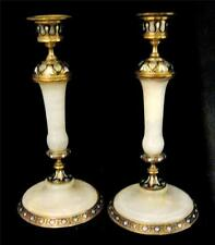 Ormolu Candle Sticks French Champleve Enamel and Onyx c1850 ALPHONSE GIROUX