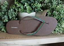 Old Navy Flip Flops Brown Green Beaded Thong Strap Casual Beach Pool Ladies 9-10