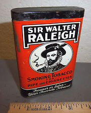 vintage Sir Walter Raleigh pocket tobacco tin, great graphics & colors black lid