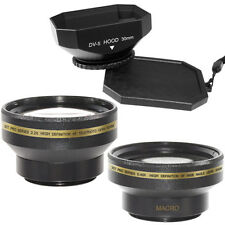 30mm Wide Angle + Telephoto Lens Kit + Hood for Sony HDR CX115 HDR CX105 CX116