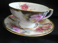 SHAFFORD HAND DECORATED MADE IN JAPAN  HUGE PINK ROSES TEA CUP AND SAUCER