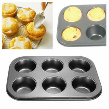 New Nonstick Metal 6 Cup Muffin Cupcake Cake Bakeware Pan Tray Tin Mould Mold TO
