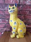 Superb Rare Authentic 1890 Emile Galle Faience Seated Cat with Stylised Motifs