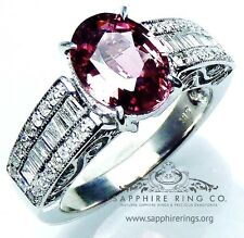 Certified 18kt White Gold 3.10 tcw Pink Oval Cut Natural Sapphire & Diamond Ring
