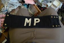WWII  Blue & White MP Military Police Armband With Snaps No Reserve