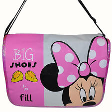 DISNEY MINNIE MOUSE BIG SHOES 2 FILL MESSENGER BAG School Bookbag Black Pink NEW