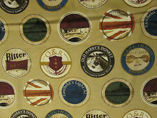 BEER LABELS CRAFT BEER TAN COTTON FABRIC BTHY