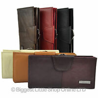 Ladies Long Leather Purse - Wallet  Cowhide CLASP COIN SECTION in 6 Colours