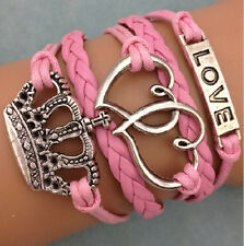 NEW Infinity Love Heart Crown Friendship Antique Silver Leather Charm Bracelet 1