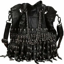 YALUXE Womens Skull Studded Bling Tassel Lambskin Leather Purse Cross Body Bag