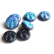 Blue Moon Moon Face Glass Beads Czech Pressed Solstice Full Black ab Shimmer OOP