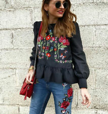 ZARA BLACK FLORAL EMBROIDERED BLOUSE FLOWING TOP BOHO STYLE SIZE SMALL