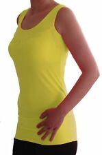Womens Plain Sleeveless Scoop Neck Casual Skinny Fit Stretch Long Vest Tank Tops