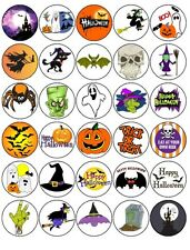 "Halloween -30 x 1.5"" Rice Paper Cake Toppers -FREE Delivery D3"