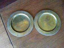 2 Danish MODERN CHARGERS DENMARK SCANMALAY COPPER OR BRASS FINISH Vintage retro