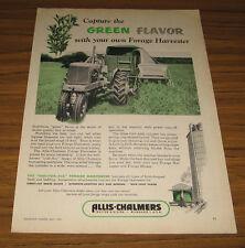 1952 Vintage Ad Allis-Chalmers Tractor Pulls Forage Harvester on Farm