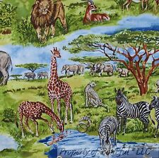 BonEful Fabric FQ Cotton Quilt Scenic African Animal Safari Giraffe Rhino Zebra