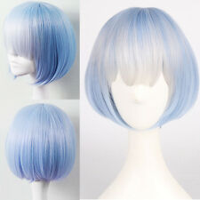 Blue Ombre Gradient Lolita Neat Bangs Wig Short Straight Bob Anime Costume Hair