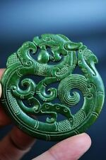Excellent green jade carved Two-sided dragon lucky pendant  JP172
