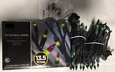 70 Double String Lights Purple Green Fall Halloween Flashing (14.5 ft length)