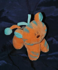 Peluche Doudou Chat Chien Tigre TIGEX Orange Bleu Rayé 13 Cm TTBE