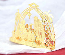 Danbury Mint 23kt Gold plated Christmas Ornament 2011 Nativity Bethlehem Manger