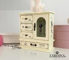 Lavender - Fairy Tale 4 Drawer Wooden Jewellery Box Cabinet