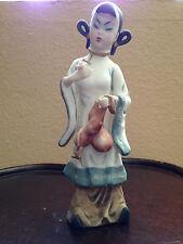Oriental Asian Ceramic Figurine Statue Geisha Girl  With A Flower