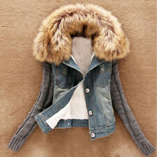 Winter Denim Womens Slim Fur Collar Pieced Coats Jeans Tops Short Casual Jackets