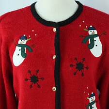Ugly Christmas Sweater Size M Snowmen Tacky Holiday Party Cardigan Jumper Ideas